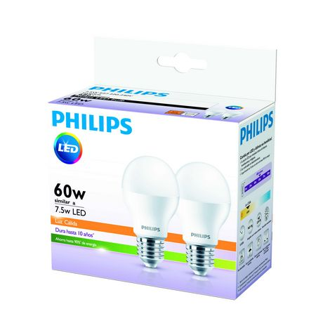 LAMPARA PHILIPS LED BULB ESSENTIAL 7.5 W= 60 W 3000K 10000 H CALIDA X 2 UN. - ART. 929001378495**