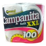 PAPEL HIGIENICO CAMPANITA SIMPLE HOJA SOFT XXL X 100 MT. X 4 UN.