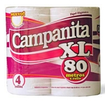 PAPEL HIGIENICO CAMPANITA SIMPLE HOJA SOFT XL PLUS X 80 MT. X 4 UN.