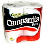 PAPEL HIGIENICO CAMPANITA SIMPLE HOJA SOFT X 60 MT. X 4 UN.