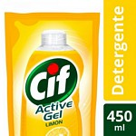 DETERGENTE CIF ACTIVE GEL LIMON DOY PACK X 450 ML.