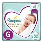 PAÑAL PAMPERS PREMIUM CARE G X 20 UN.