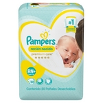 PAÑAL PAMPERS PREMIUM CARE RN X 20 UN.