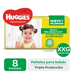 PAÑAL HUGGIES TRIPLE PROTECCION REGULAR EXTRAEXTRAGRANDE X 8 UN.