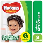 PAÑAL HUGGIES ACTIVE SEC REGULAR G X 9 UN.