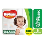 PAÑAL HUGGIES ACTIVE SEC REGULAR XXG X 8 UN.