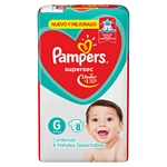 PAÑAL PAMPERS SUPERSEC G X 08 UN.
