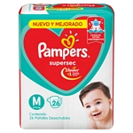 PAÑAL PAMPERS SUPERSEC M X 26 UN.