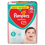 PAÑAL PAMPERS SUPERSEC G X 22 UN.