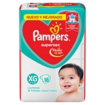 PAÑAL PAMPERS SUPERSEC XG X 18 UN.