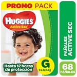 PAÑALES HUGGIES ACTIVE SEC HIGH COUNTS G X 68 UN.