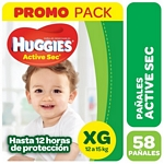 PAÑALES HUGGIES ACTIVE SEC HIGH COUNTS XG X 58 UN.