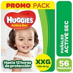 PAÑALES HUGGIES ACTIVE SEC HIGH COUNTS XXG X 56 UN.