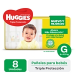 PAÑAL HUGGIES TRIPLE PROTECCION REGULAR GRANDE X 8 UN.