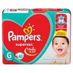 PAÑAL PAMPERS SUPERSEC G X 40 UN.