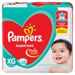 PAÑAL PAMPERS SUPERSEC XG X 32 UN.