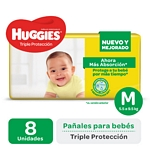 PAÑAL HUGGIES TRIPLE PROTECCION REGULAR MEDIANO X 8 UN.