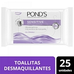 TOALLAS DESMAQUILLANTES PONDS Q SENSITIVE X 25 UN.