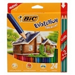 LAPIZ BIC COLOR EVOLUTION LARGO X 24 UN. + LAPIZ GRAFITO GRATIS X 2 UN. - ART. 936406