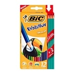12 LAPIZ COLOR BIC EVOLUTION LARGO + 3 GRAFITO GRATIS - ART 936403