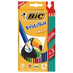 LAPIZ BIC COLOR EVOLUTION LARGO X 12 UN. + LAPIZ GRAFITO GRATIS X 3 UN. - ART. 936403